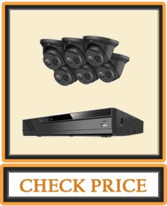 Amcrest 4K Security Camera System w 4K 8CH PoE NVR 6 x 4K (8-Megapixel) IP67 Weatherproof Metal Turret Dome POE IP Cameras (3840x2160) 2.8mm Wide Angle Lens NV4108E T2499EB28M6 2TB (Black)