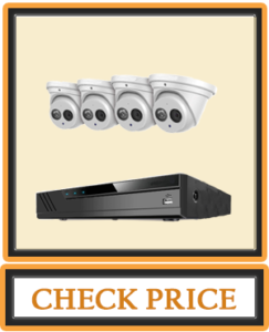 Amcrest 4K Security Camera System w 4K 8CH PoE NVR (4) x 4K (8 Megapixel) IP67 Weatherproof Metal Turret Dome POE IP Cameras (3840x2160) Pre Installed 2TB HDD NV4108E IP8M T2499EW4 2TB (White)